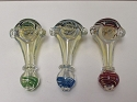 Designed Colored Head Clear Glass Pipe