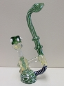 Blue Green Concentrate Bubbler W/ White Beads Bowl