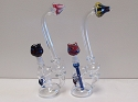 Top Colored Clear Glass Bubbler W/ Colored Bowl