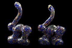 250Gr. 2 Chamber Blue Lining Dotted Glass Bubbler