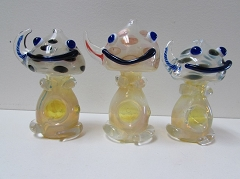 Colored Golden Doll Glass Pipe