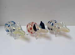 Colored Fumed Rhino Animal Glass Pipe