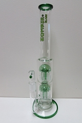 Zombie Glass Green 8 Arm Two Perc Glass Water Pipe GB-017