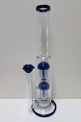 Blue 8 Arm Two Perc Glass Water Pipe GB-017