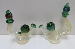 315Gr. Green Fumed Designed Glass Bubbler