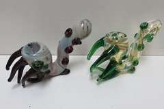All Tube Multiple Beads & Horns Glass Sherlock Pipe