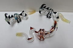 Alligator Shaped Colored Horns Glass Pipe