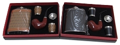 High Quality Flask, 2 Shot Metal Cups & Wood Pipe Gift Set
