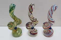 Dual Color Spiral Lining Glass Bubbler