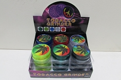 2 Part Leaf Design Plastic Tobacco Grinder ( Buy 24 pc $ 0.85 Each )