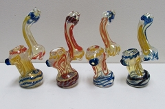 Multi Colored Designed Glass Bubbler ( Buy 6 pc $ 3.50 Each )
