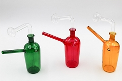 Solid Colored Glass Water Pipe w/ Oil Burner Attachment