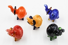 106Gr. Glossy Mixed Colored Glass Elephant Pipe (Buy 6pcs $3.50 each)