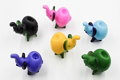 106Gr. Frosted Mixed Colored Glass Elephant Pipe (Buy 6pcs $3.50 each)