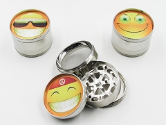 4 Part 51mm Smile Face Metal Grinder (Buy 12pc $2.99 each) GR042-FSM