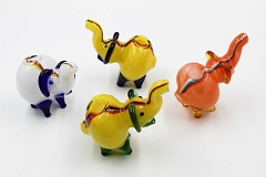100Gr. Colored Top Lining Solid Colored Elephant Animal Glass Pipe ( Buy 6 pc $ 3.99 Each )