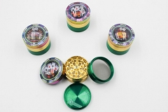 50mm Casino Design Top Rainbow Color 4 Part Metal Grinder MG-024 ( Buy 12 Pc $ 6.99 Each )
