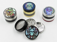 4 Part Colored Hologram Skull Design Grinder (Buy 6pc Diplay Box $4.99 each) AA-400