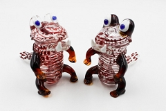 225Gr. Colored Lining Monkey Animal Glass Pipe