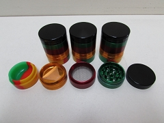 5 Part 40mm Silicon Bottom Aluminium Grinder 1ct (GR146-40) ( Buy 6 Pc $ 5.99 Each )