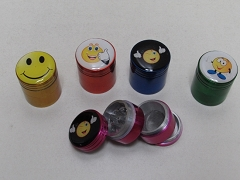 32mm 4 Part Smiley Face Colored Grinder