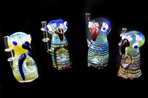 Colored Designed Owl Animal Glass Pipe