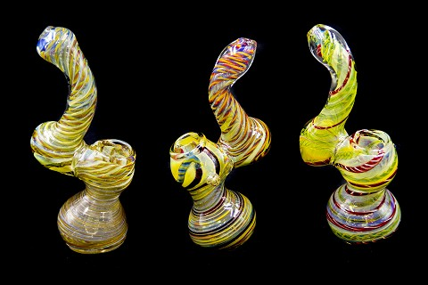 Colorful Straight Spiral Lining Glass Bubbler
