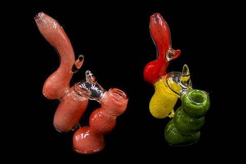 2 Chamber Solid Colored Glass Bubbler