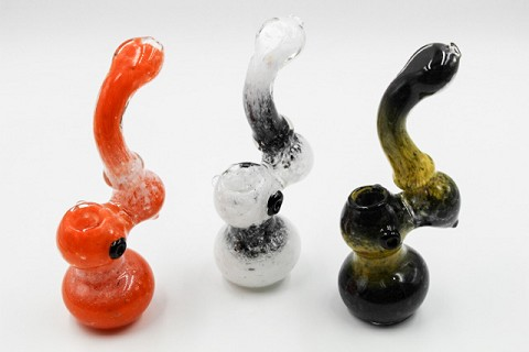 224Gr. Double Colored Spotted Glass Bubbler