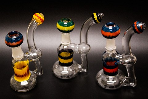 215Gr. Double Infused Colored Glass Oil Rig Bubbler w/ Colored Dome & Nail
