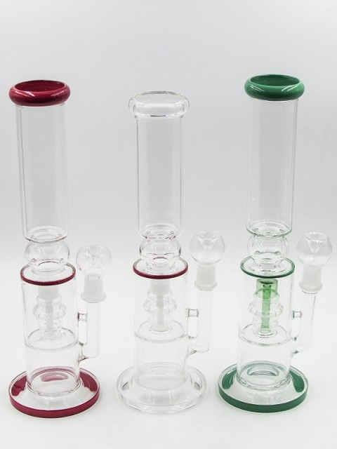 "14"" 680Gr. Colored Shower Perc Glass Water Pipe W/ Clear Bowl"