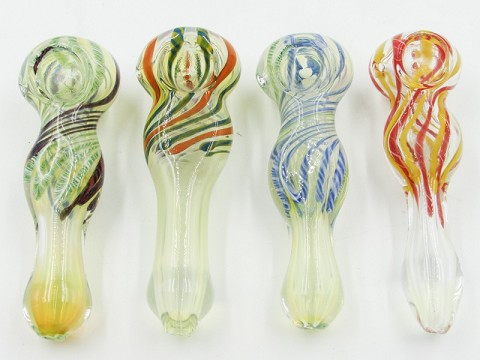 "4.5"" 80Gr. Top Colored Designed Fumed Glass Pipe"