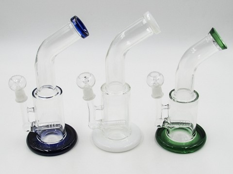 "10"" 350Gr. Top Bend Colored Base Glass Water Pipe W/ Nail & Dome"