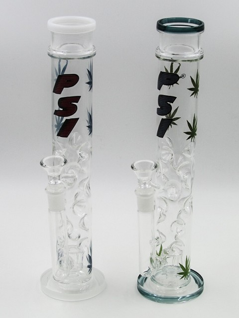 "14"" 500Gr. Multi Ice Catcher Leaf Sticker Glass Water Pipe W/ Clear Bowl"