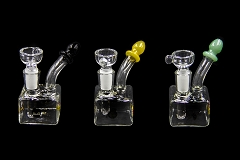 Clear Square Colored Tip Glass Bubbler w/ Bowl 3250