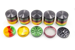 5 Part 63mm Silicon Bottom Aluminium Grinder (GR146-63) ( Buy 6pc Display $ 8.50 Each )