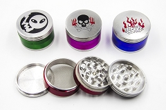 56mm 4 Part Top Sticker Colored Metal Grinder