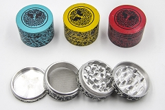 56mm 4 Part Top Tree Design Colored Metal Grinder