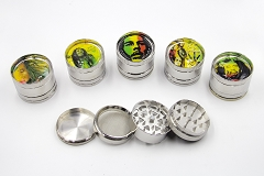 4 Part Bob Marley Metal Grinder AA-165 (Buy 6pc $4.50 each)