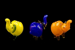 106Gr. Glossy Mixed Colored Glass Elephant Pipe ( Buy 6 pc $ 3.50 Each )