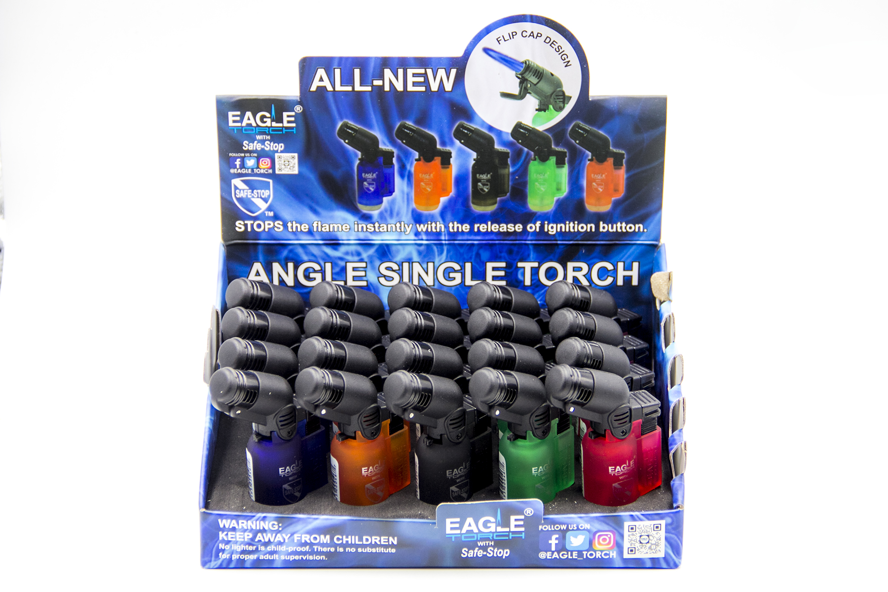 Eagle Torch V2 Safe Stop Angle Torch Lighter 20ct PT116B