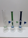12 Middle Perculator Glass Water Pipe W/ Colored Male Bowl
