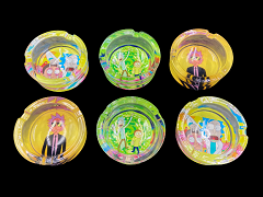 82mm Clear Mixed Rick & Morty Glass Ashtray 6ct Display Box