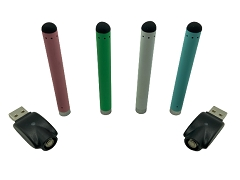 Mixed Colored Buttonless Vape Battery w/ USB Charger (Comes in Blister Pack) (Buy 24pc or more $1.50 each)