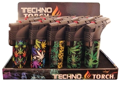 Techno Torch Cannabis Mixed Designed 1 Flame Torch Lighters 15ct Display Box CB