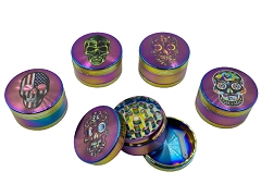 50mm 3 Part Rainbow Candy Skull Aluminum Grinder (Buy 12ct Display Box $3.99 each) DK5666-3