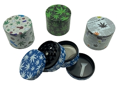 50mm 4 Part Printed Mixed Designs Aluminum Grinder (Buy 12ct Display Box $5.50 each) DK5031E-4