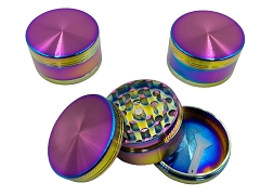 50mm 3 Part Rainbow Colored Aluminum Grinder (Buy 12ct Display Box $3.75 each) DK5663-3