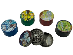50mm 3 Part Rick & Morty Solid Colored Aluminum Grinder (Buy 12ct Display Box $3.99 each) DK5904A-3