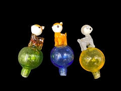 Dog Puppy Top Colored Glass Carb Cap